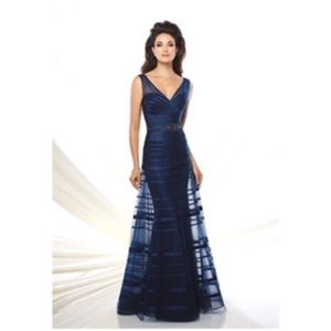 Navy blue A-line gown